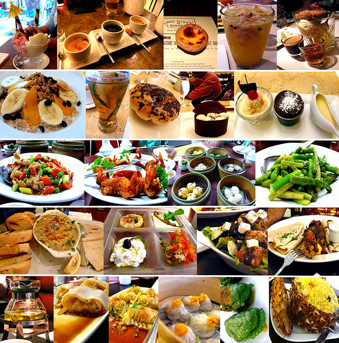 this is a montage of food