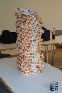 this is a photo of pizza boxes