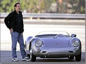this is a photo of jerry seinfeld and a porsche