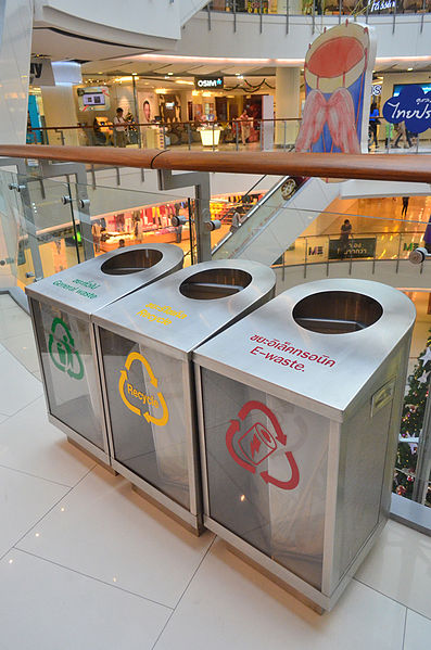 this is a photo of recycling bins
