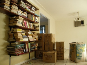 this is a photo of moving boxes and books